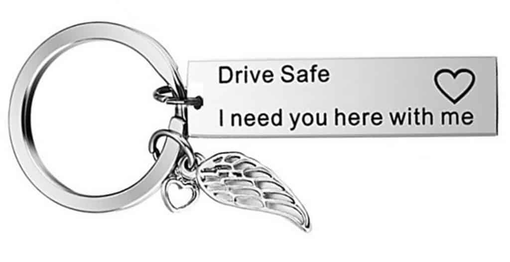 Best Cheap Gift AliExpress Cute Couple Drive Safe Stainless Steel Keychain