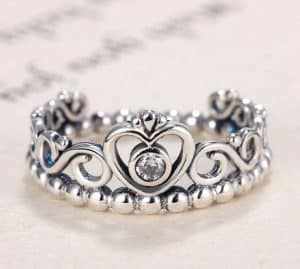 Pandora Charm Replica AliExpress Pendant 010 Princess Tiara Ring Silver Ring Princess Tiara Royal Crown With Crystal Rings For Women1