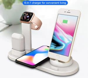 Apple airpod replica Cheap aliexpress airpod clone airpod iwatch iphone Android phones 6 in 1 wireless charging dock 1