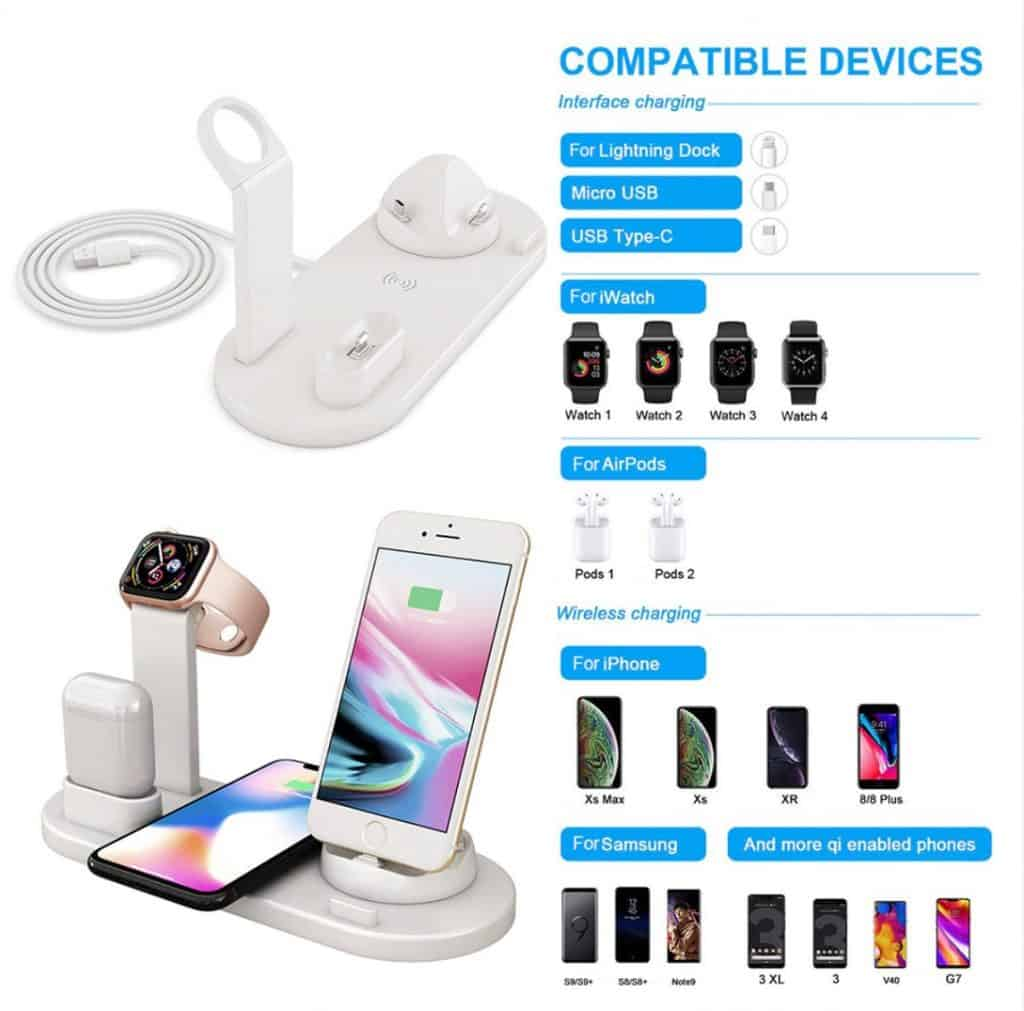 Apple airpod replica Cheap aliexpress airpod clone airpod iwatch iphone Android phones 6 in 1 wireless charging dock 1 Compatible Phone Models