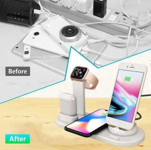 Apple airpod replica Cheap aliexpress airpod clone airpod iwatch iphone Android phones 6 in 1 wireless charging dock 1 solve messy charging cables