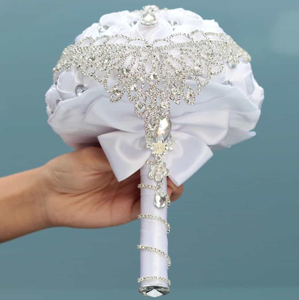 AliExpress Cheap Designer Wedding Dresses Bridal Gown Handmade Diamond Bouquet 1