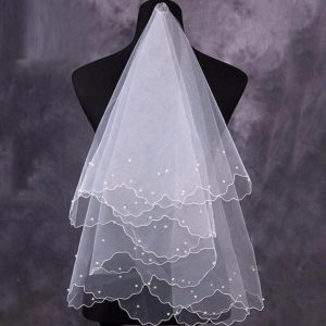 AliExpress Cheap Designer Wedding Dresses Bridal Gown Pearl Bridal Veil 1
