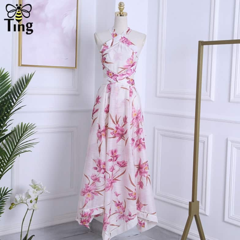 Top 10 AliExpress Elegant Party Dresses Summer Dresses for Woman 3 Designer Runway Sexy Halter Cross Backless Maxi Dress