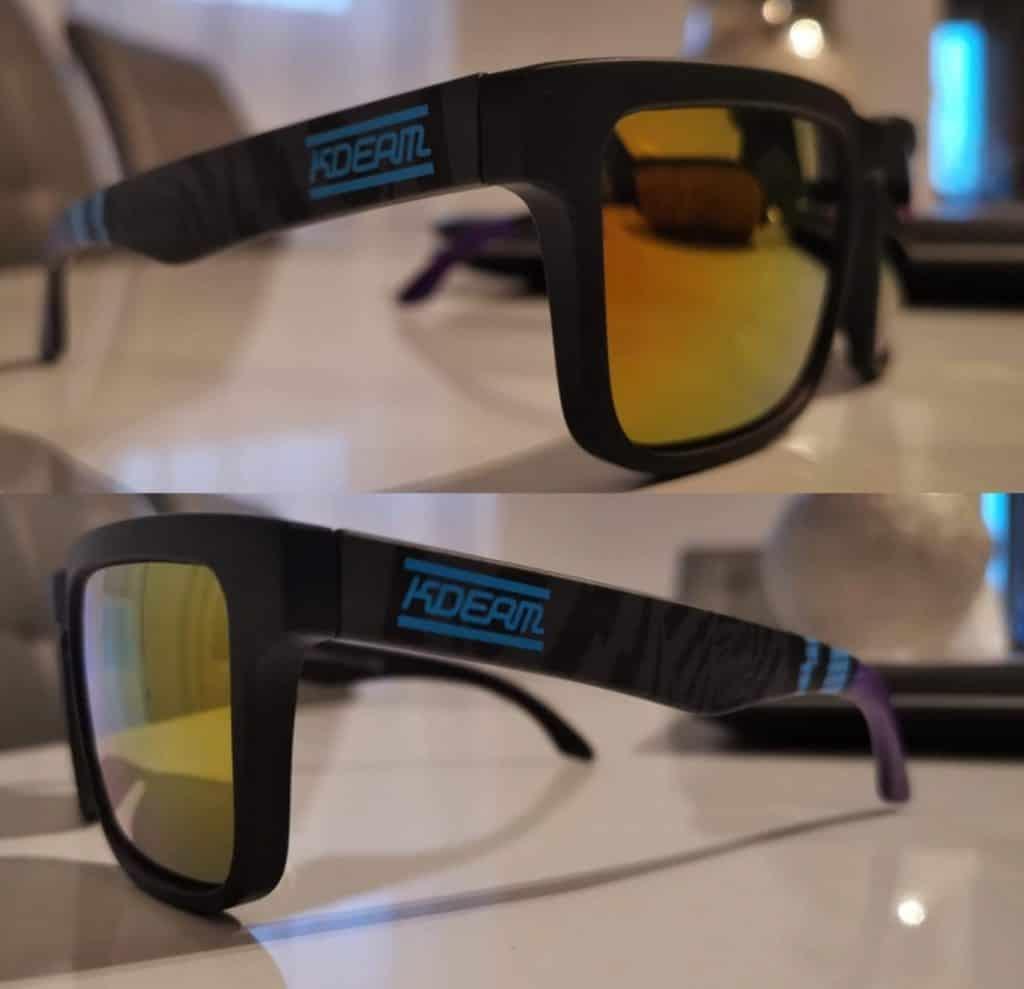 AliExpress fake sunglasses Cheap replica shades aviator glasses Sun UV Rayban Multi color Shiny Gold with case 4 side view